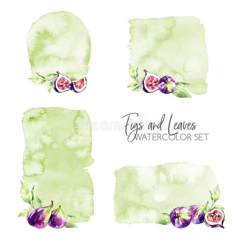 Waterverfkaders met texturen en fig. worden geplaatst dat Originele hand getrokken illustratie Vruchten malplaatjeontwerp De zome royalty-vrije illustratie