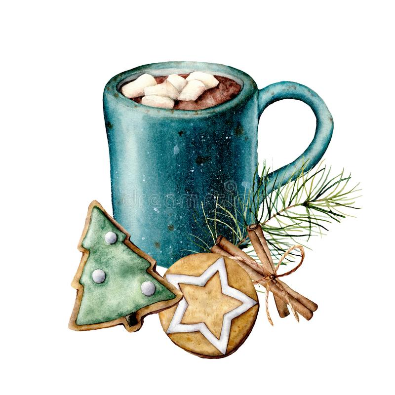 Waterverfkerstkaart met cacao en gebakje Hand geschilderde kop cacao, heemst, koekjes en pijpjes kaneel stock illustratie