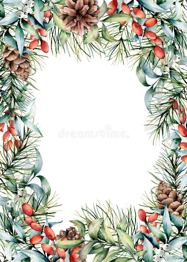 Waterverfkerstkaart met de winterontwerp Hand geschilderde spartakken met kegels, eucalyptusbladeren en tak royalty-vrije illustratie