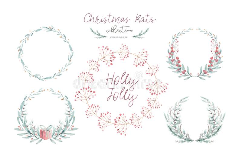 Waterverfkerstkaart met wearth Kerstmisdecoratie van de handtekening Het ontwerp van de de wintervakantie Bessenkroon voor royalty-vrije stock afbeelding
