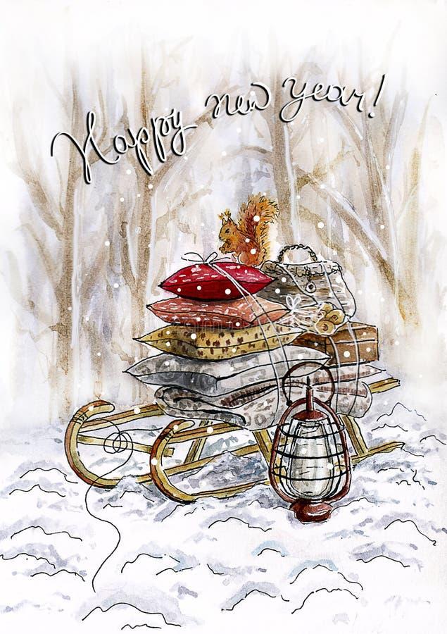 Waterverfkerstmis card_sleigh in het bos stock illustratie