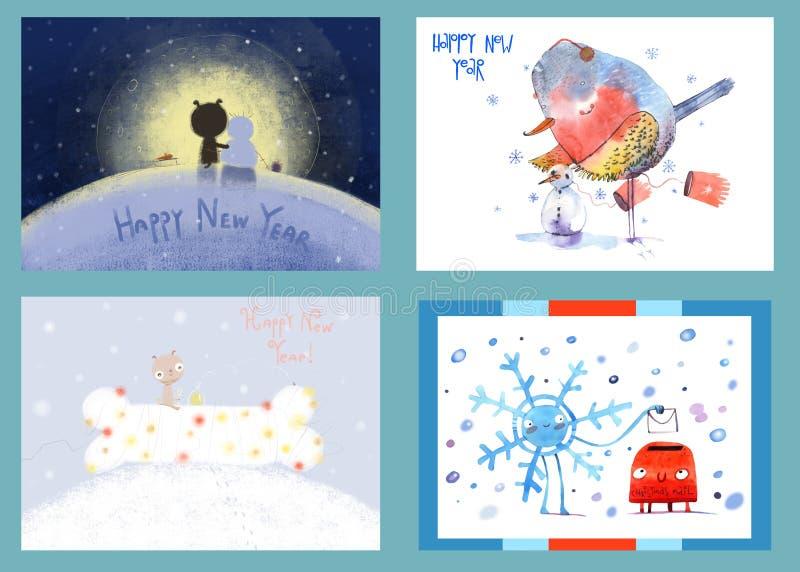 Waterverfkerstmis en nieuwe jaarkaarten, achtergrond, prentbriefkaar, kopbal, gelukwens, Gelukkig Nieuwjaar 2019 De winter stock illustratie