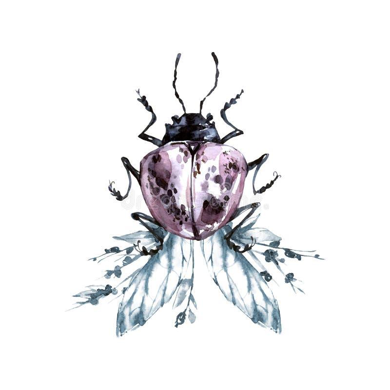 Waterverfkever met bloemenvleugels Dier, insecten Magische vlucht Kan op T-shirts, zakken, affiches worden gedrukt royalty-vrije illustratie