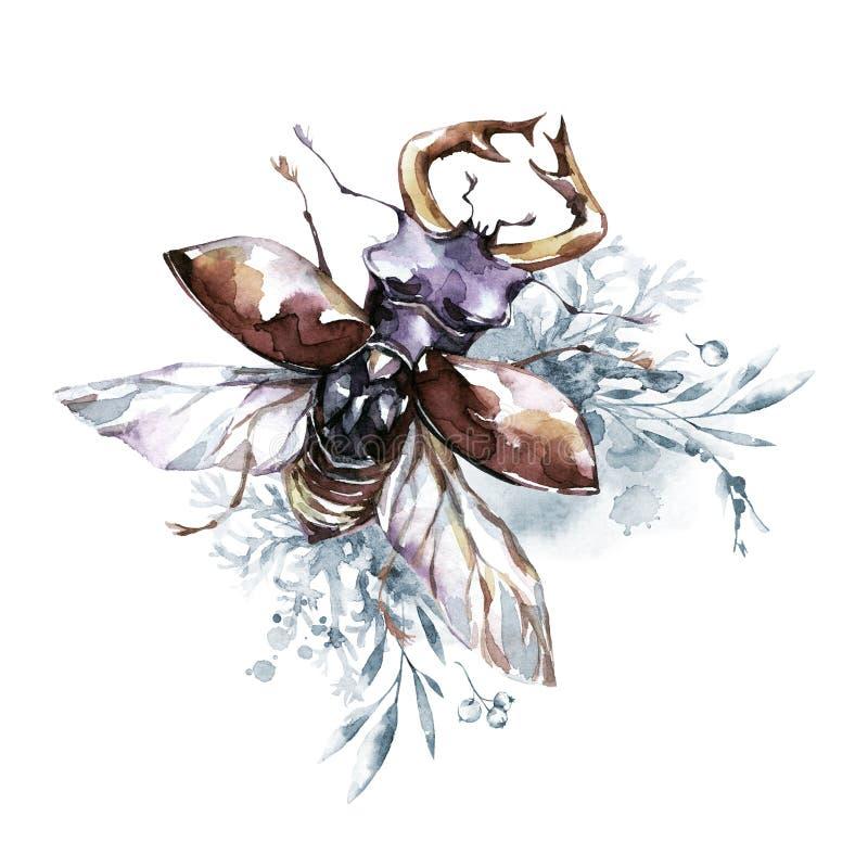 Waterverfkever met hoornen op een bloemenachtergrond Dier, insecten Magische vlucht Kan op T-shirts, zakken worden gedrukt royalty-vrije illustratie
