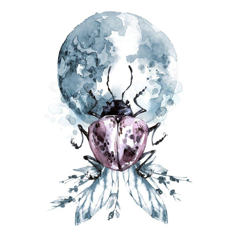 Waterverfkever met planeet op bloemenvleugels Dier, insecten Magische vlucht Kan op T-shirts, zakken worden gedrukt stock illustratie