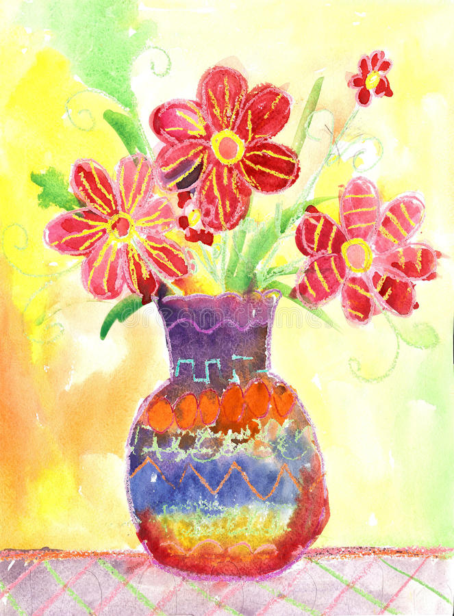 Waterverfkinderen die Bloemen trekken stock illustratie