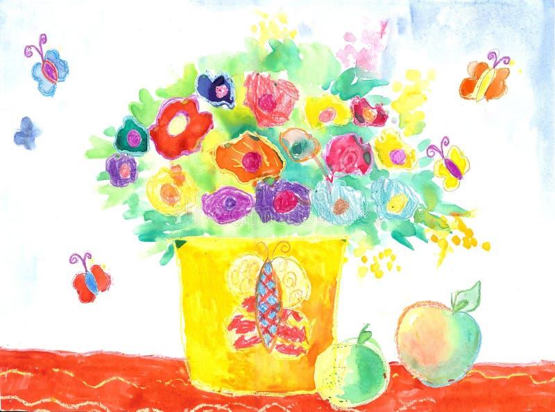 Waterverfkinderen die Bloemen trekken royalty-vrije illustratie