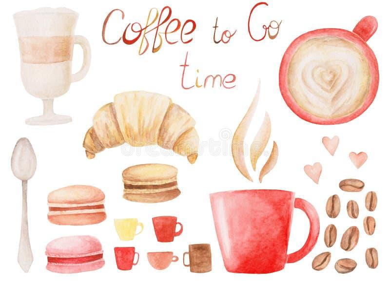 Waterverfkoffie met kop, geroosterde bonen, makarons, latte en croissant wordt geplaatst dat Geïsoleerde Illustratie voor ontwerp stock illustratie