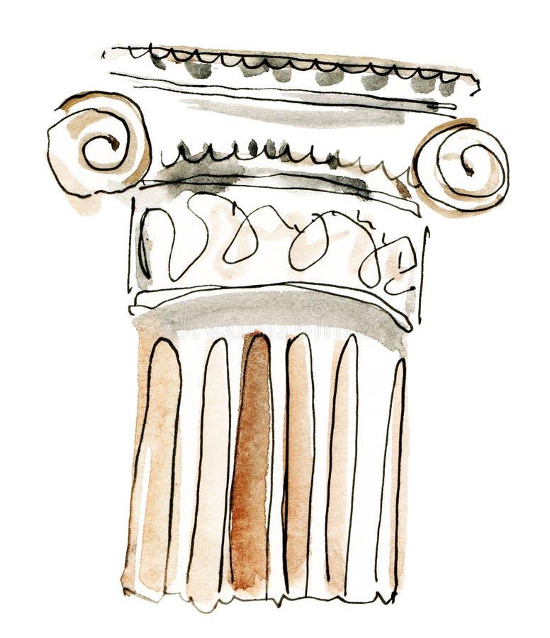 Waterverfkolom Kapitalen van de waterverf de met de hand gemaakte tekening royalty-vrije illustratie