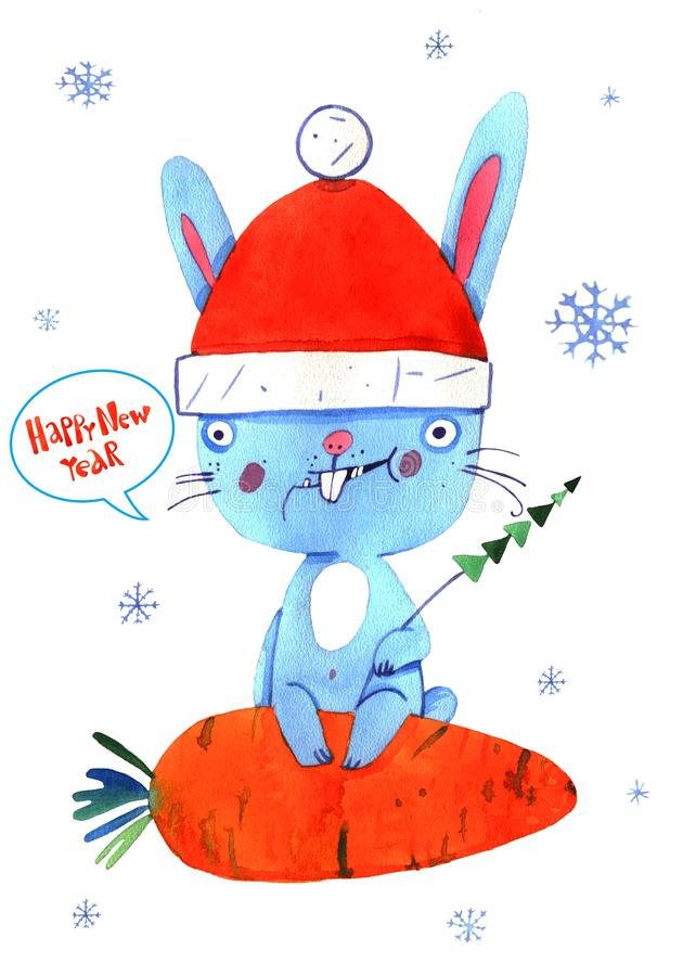 Waterverfkonijn, Kerstmis, sneeuwende kaart vector illustratie