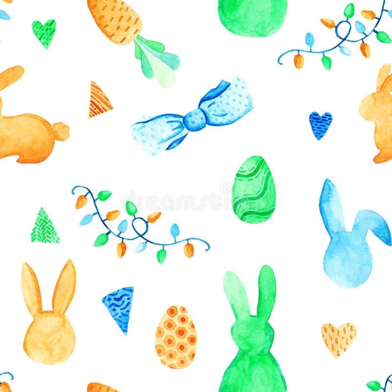Waterverfkonijntje en ei naadloos patroon Pasen-vakantie Voor ontwerp, kaart, druk of achtergrond stock illustratie