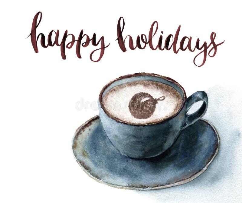 Waterverfkop van cappuccino met het Gelukkige vakantie van letters voorzien Kerstmisillustratie met blauwe kop van koffie en kane royalty-vrije illustratie