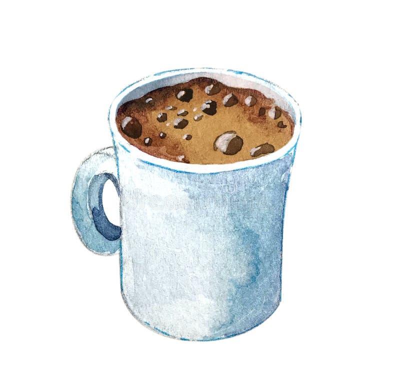 Waterverfkop van koffieespresso stock illustratie