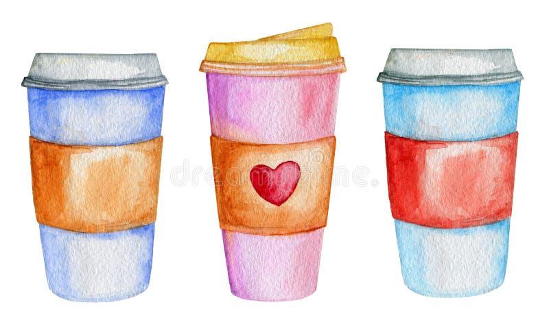 Waterverfkoppen van koffie royalty-vrije illustratie