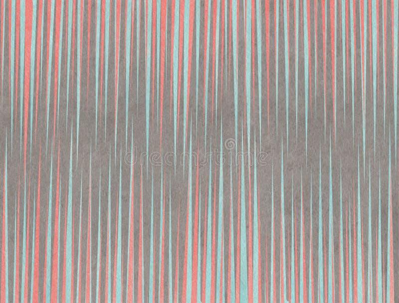 Waterverfkoraal, blauwe en grijze gestreepte achtergrond vector illustratie