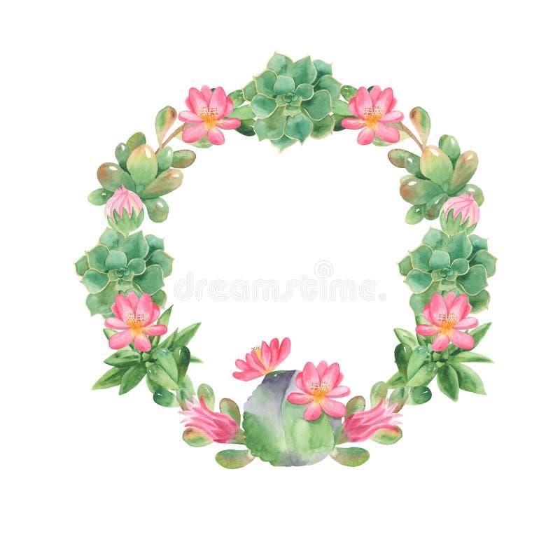 Waterverfkroon met cactussen en succulents vector illustratie