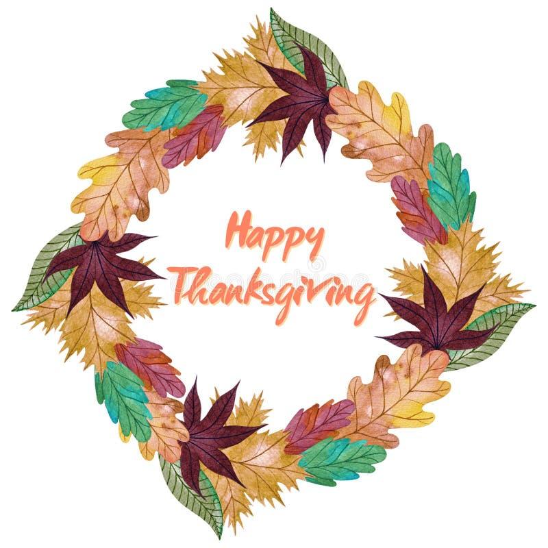 Waterverfkroon met de herfst veelkleurige bladeren Gelukkig Thanksgiving day Autumn Wreath stock illustratie