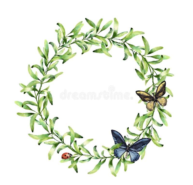 Waterverfkroon met de lentekruiden, vlinder en lieveheersbeestje De hand schilderde bloemendiegrens op witte achtergrond wordt ge royalty-vrije illustratie