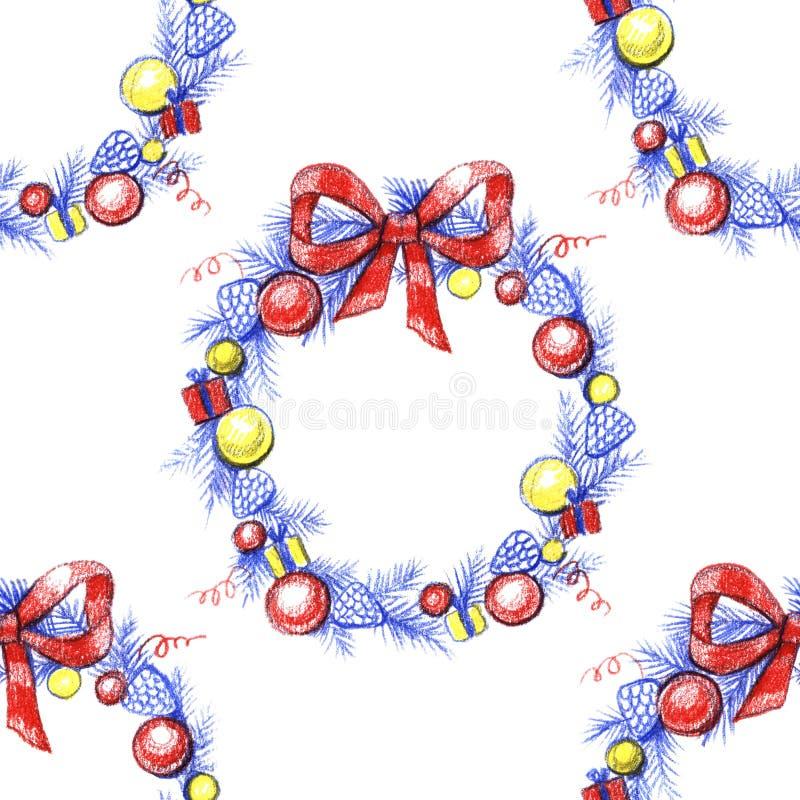 Waterverfkroon met rode bessen en boog Patroon Het naadloze patroon van de Kerstmiskroon vector illustratie