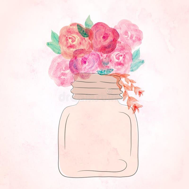 Waterverfkunst van mooie bloem in kruik wordt geschilderd die watercolor vector illustratie