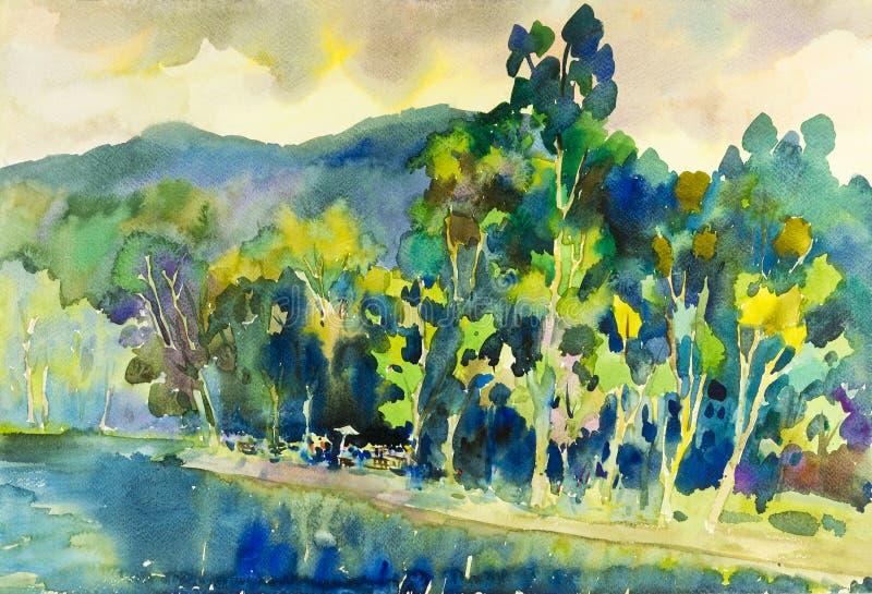 Waterverflandschap het originele schilderen kleurrijk van reservoirs, bossen en bergen vector illustratie