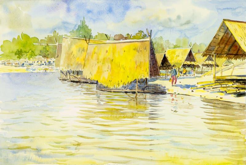 Waterverflandschap het originele schilderen kleurrijk van watertoren vector illustratie