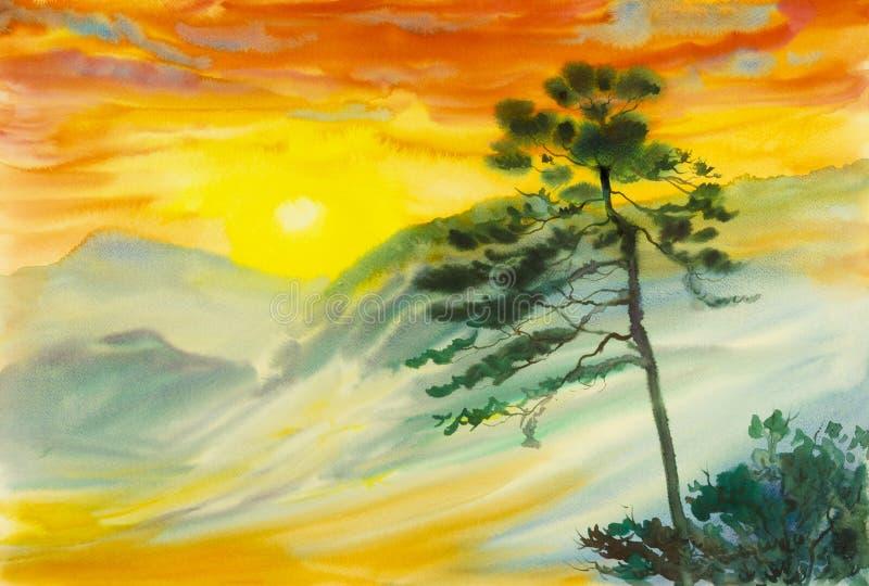 Waterverflandschap het originele schilderen kleurrijk van zon, mist, berg vector illustratie