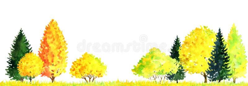 Waterverflandschap met bomen stock illustratie