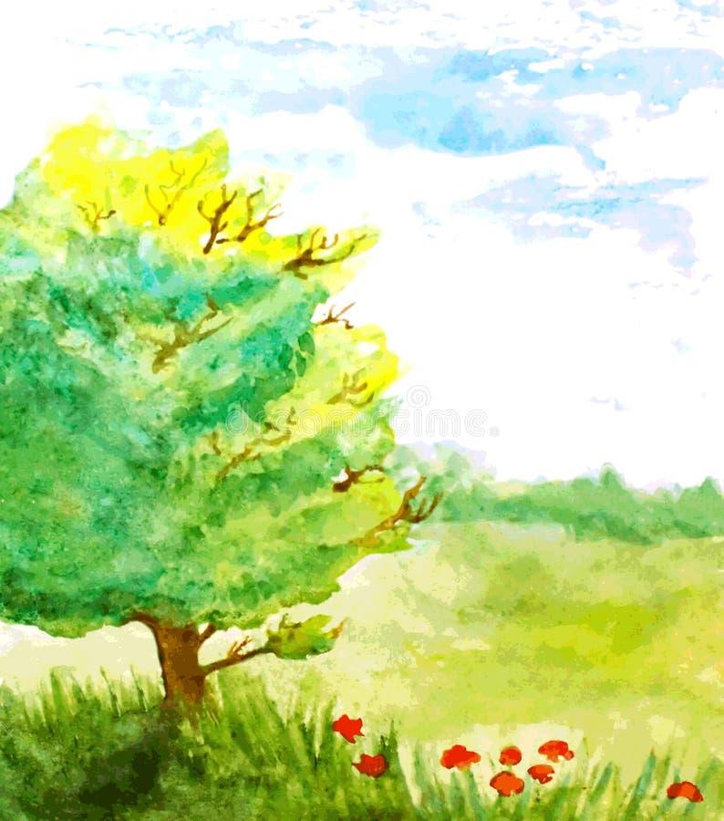 Waterverflandschap met boom, bloemen en hemel vector illustratie