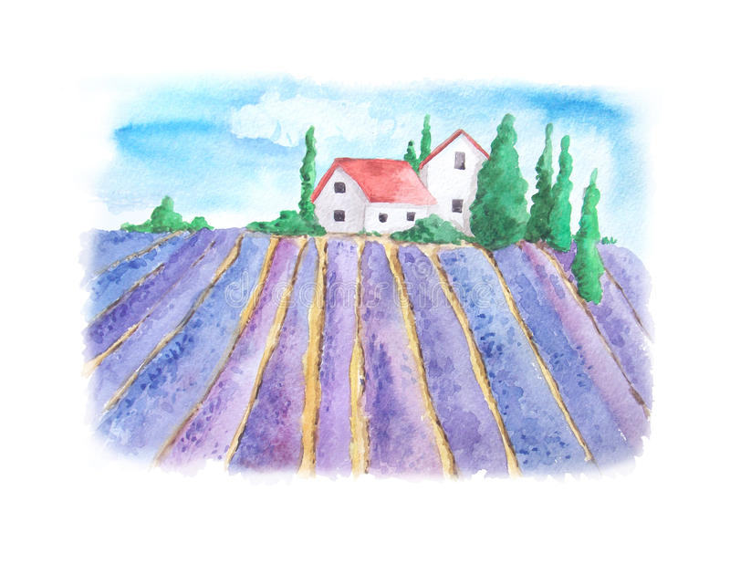 Waterverflandschap met lavendelgebied