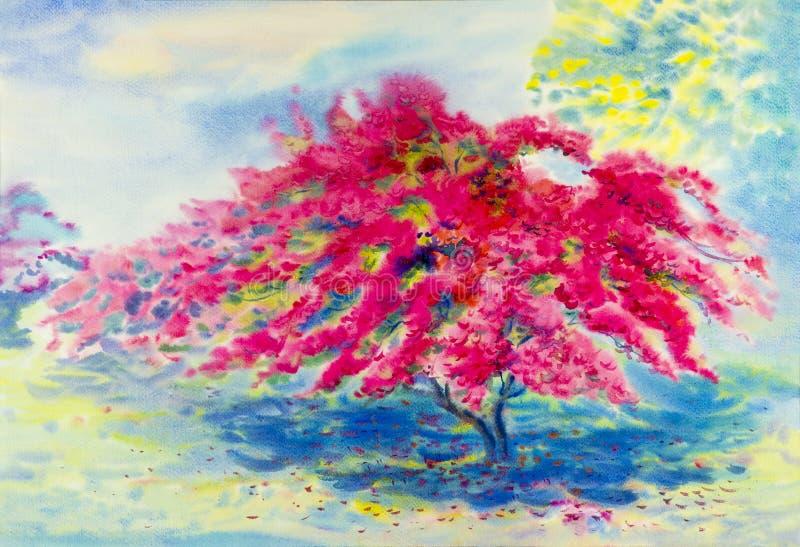 Waterverflandschap originele het schilderen roze kleur van bougainvillea royalty-vrije illustratie