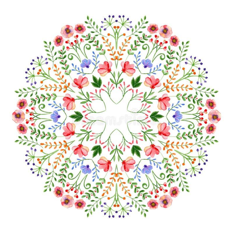 Waterverfmandala Cirkel hand-drawn ontwerp met de lentebloemen en takken stock illustratie