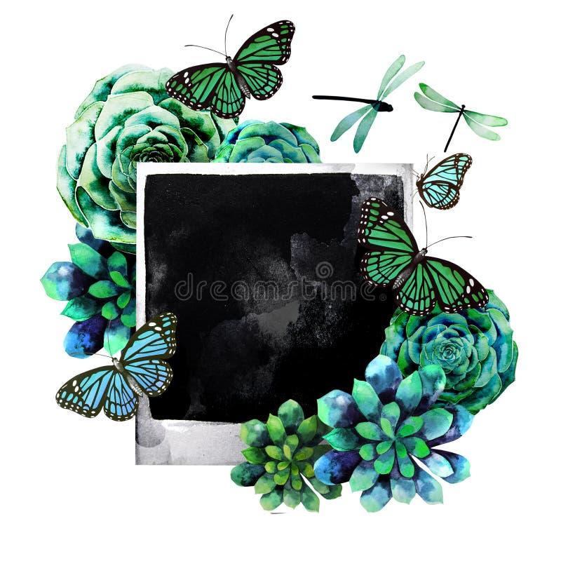 Waterverfontwerp met succulents en foto, vector illustratie