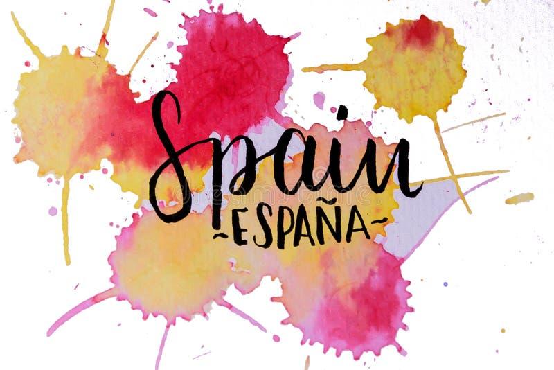 Waterverfontwerp van het merk Spanje stock illustratie