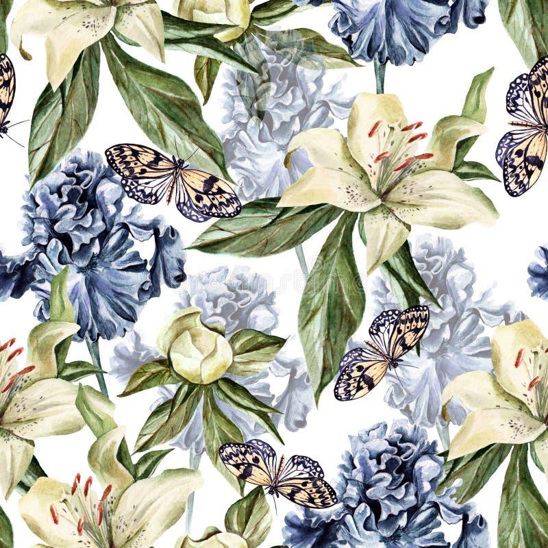 Waterverfpatroon met bloemeniris, pioenen en lelies, knoppen en bloemblaadjes vector illustratie