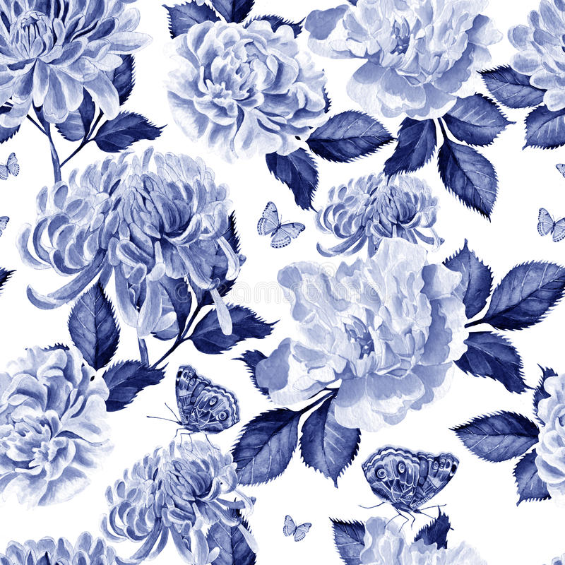 Waterverfpatroon met chrysant en pioen royalty-vrije illustratie