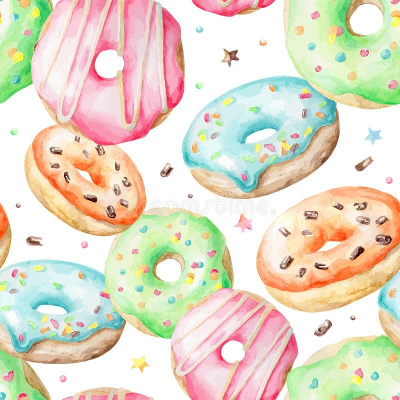Waterverfpatroon met donuts vector illustratie
