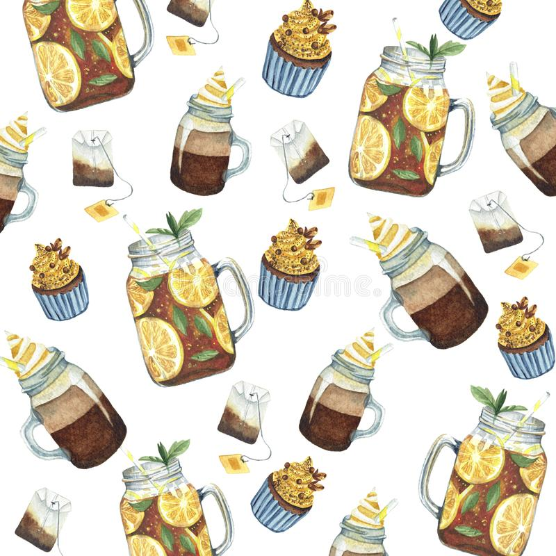 Waterverfpatroon met drank en snoepjes vector illustratie