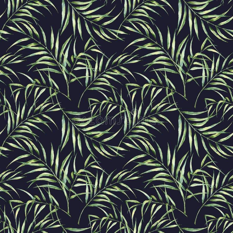 Waterverfpatroon met palmbladeren De hand schilderde exotische die groentak op donkerblauwe achtergrond wordt geïsoleerd vector illustratie