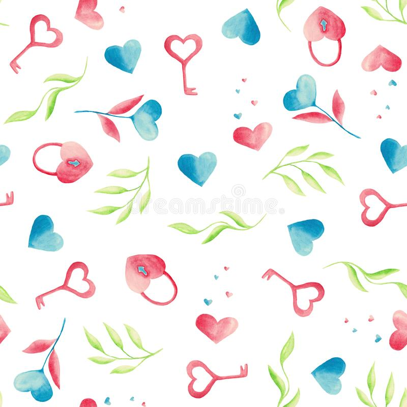Waterverfpatroon met roze en blauwe harten, slot, sleutel, cupcake, bladeren, een glas koffie, een kruik stock illustratie