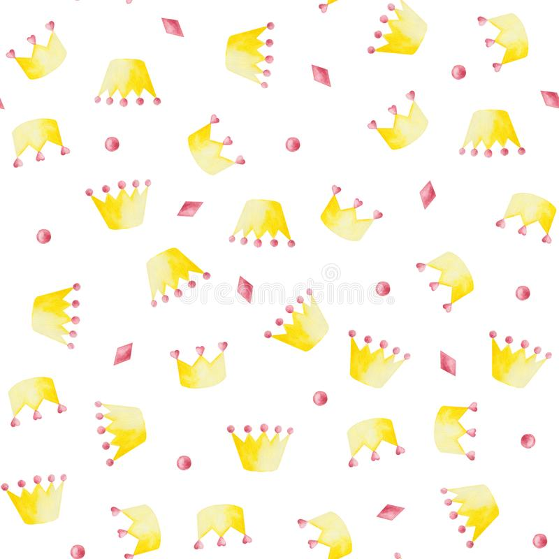 Waterverfpatroon met roze en gele kronen op witte achtergrond vector illustratie