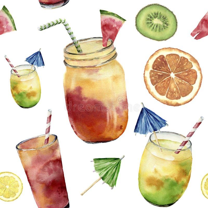Waterverfpatroon met tropicalcocktail, exotisch fruit Hand geschilderde de zomerdrank in kruik, sinaasappel, kiwi en watermeloen stock illustratie