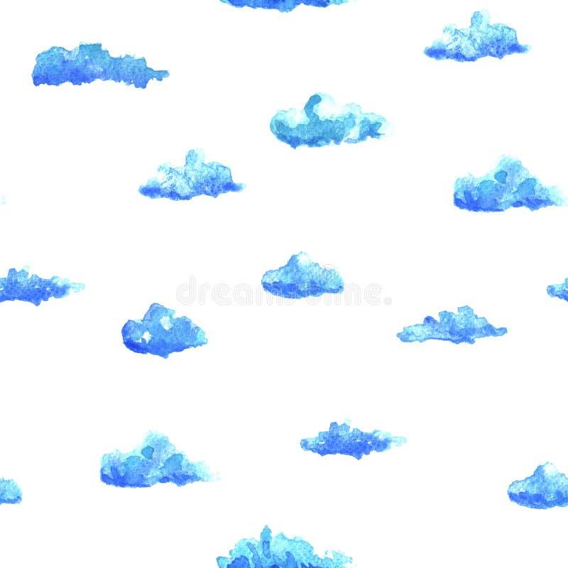 Waterverfpatroon met wolken vector illustratie