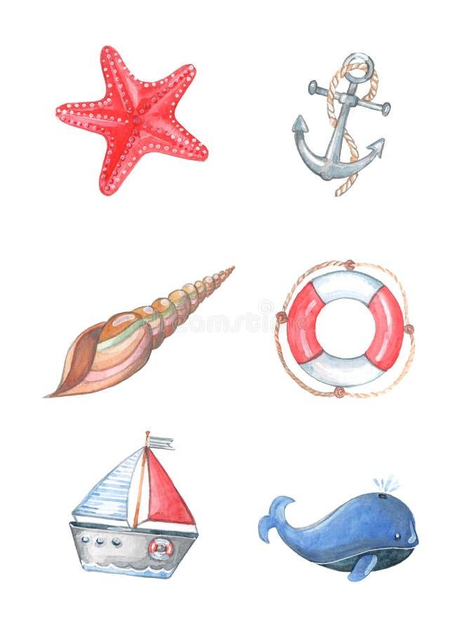 waterverfpatroon op een marien thema royalty-vrije illustratie