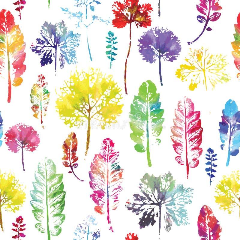 Download Waterverfpatroon Van Achtergrond Van De Bladeren De Naadloze Textuur Vector Illustratie - Illustratie bestaande uit art, blad: 54085925