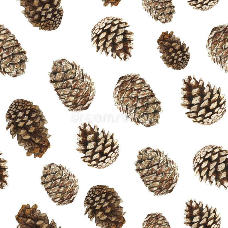 Waterverfpatroon van denneappels, Kerstbomen en ceder, naadloos patroon voor het verfraaien voor het vakantie nieuwe jaar en chri royalty-vrije illustratie
