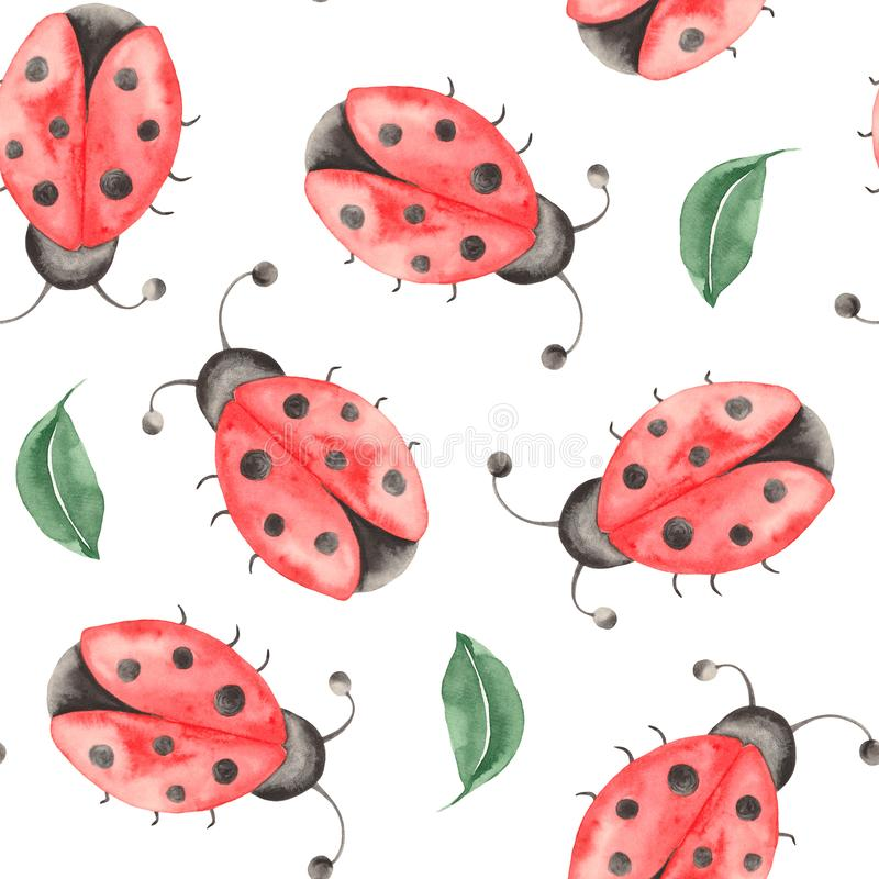 Waterverfpatroon van insecten, lieveheersbeestjes, beddewantsen, kevers met bladeren op een witte achtergrond stock illustratie