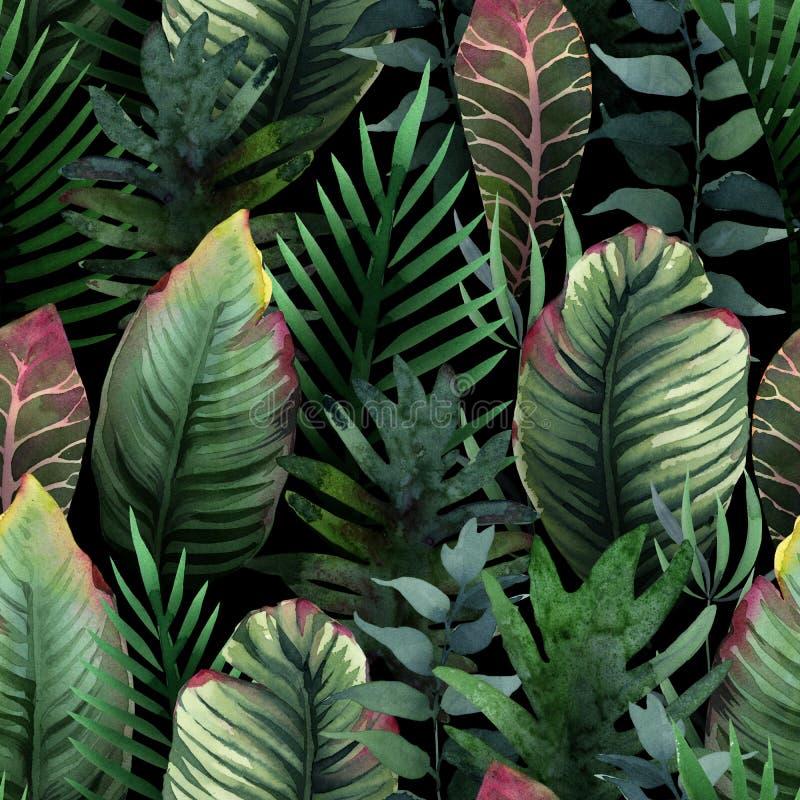 Waterverfpatroon van tropische palm en bladeren op dark vector illustratie
