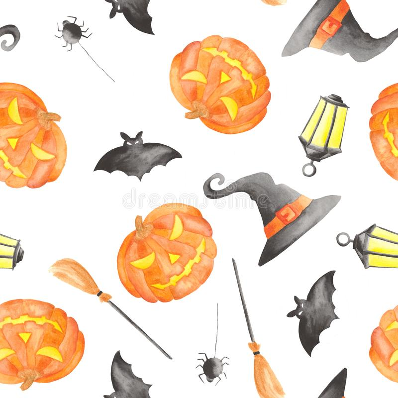 Waterverfpatroon voor Halloween met pompoen stock illustratie
