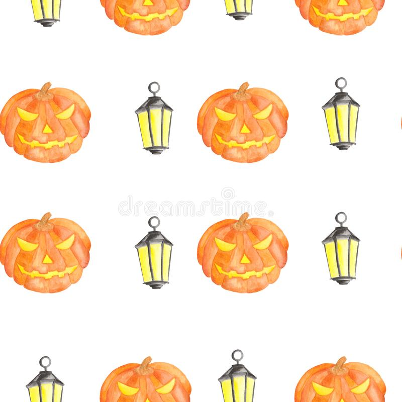 Waterverfpatroon voor Halloween met pompoen vector illustratie